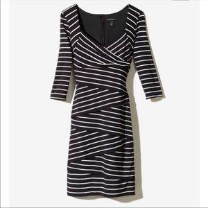 White House Black Market 3/4 sleeve striped dress